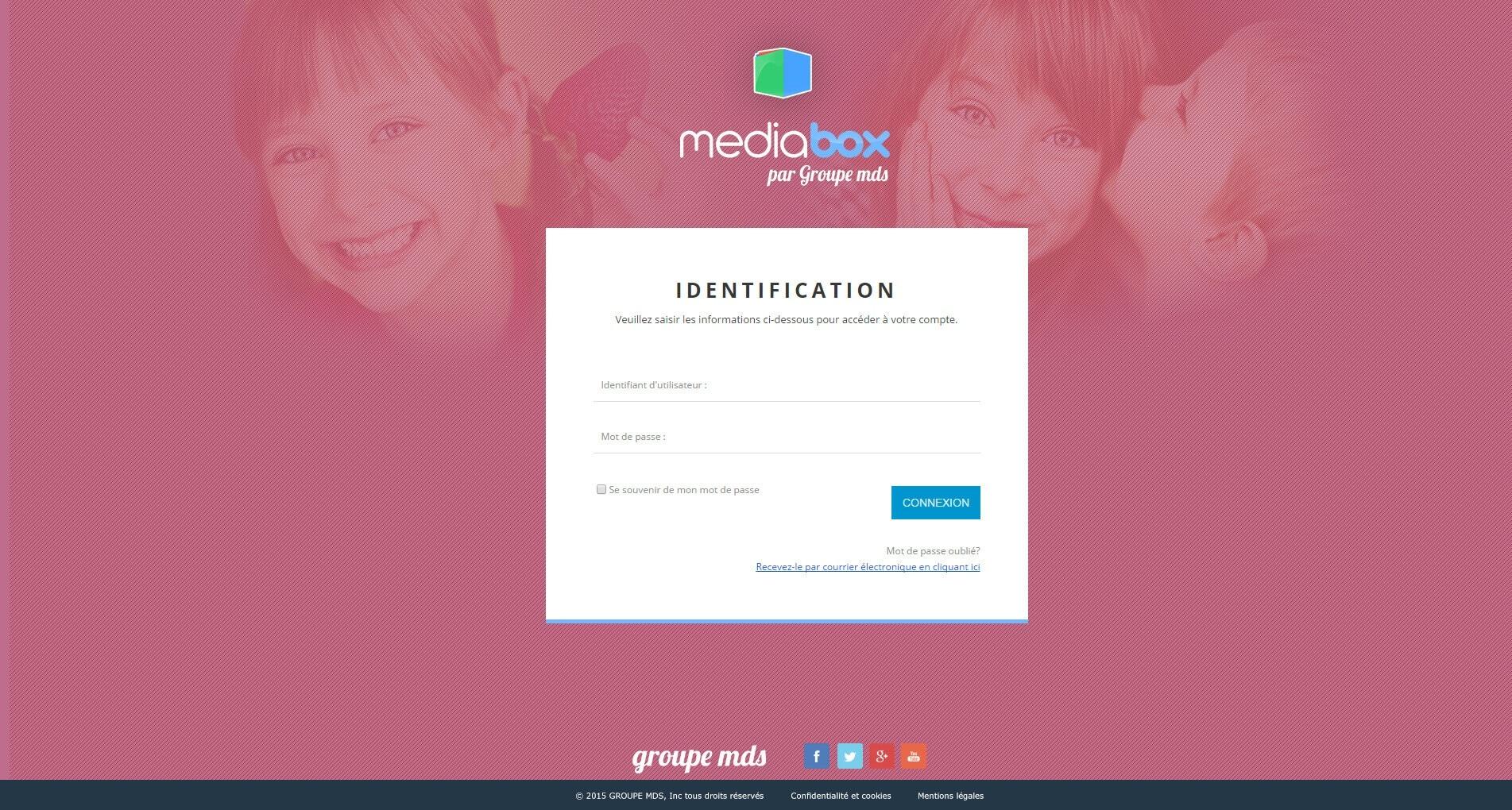 Page de connexion MediaBox
